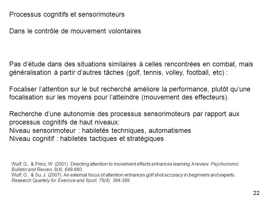 22 Processus cognitifs et sensorimoteurs Dans le contrôle de mouvement volontaires Pas détude dans des situations similaires à celles rencontrées en c