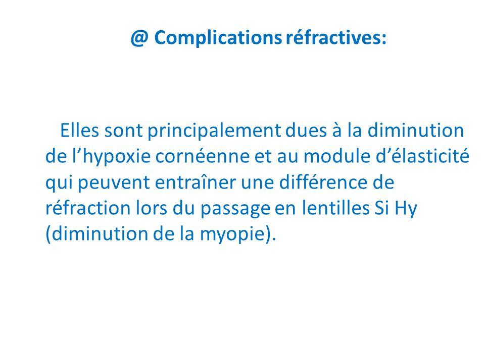 @ Complications réfractives: Elles sont principalement dues à la diminution de lhypoxie cornéenne et au module délasticité qui peuvent entraîner une d