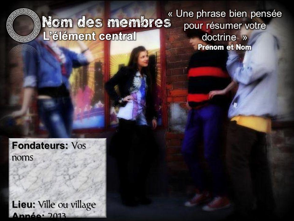 Fondateurs: Vos noms Lieu: Ville ou village Année: 2013