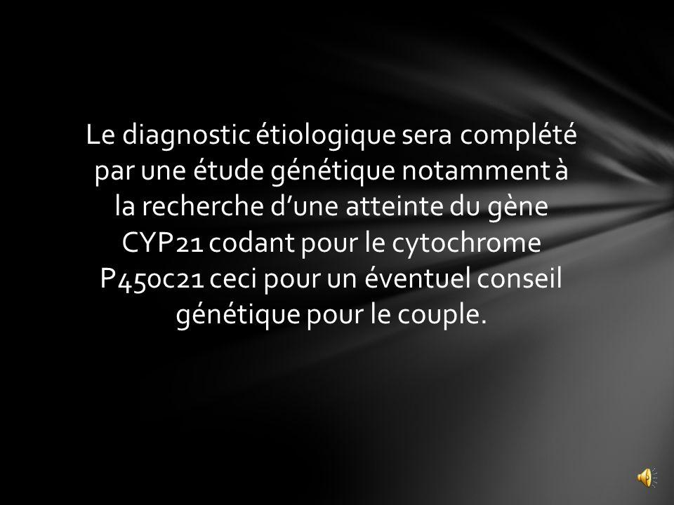Bilan complémentaire: Ionogramme urinaire: La natriurèse est à 86meq/l, la kaliurèse à 24meq/l Bilan hormonal: La cortisolémie de 8h basse à 2,5mol/l