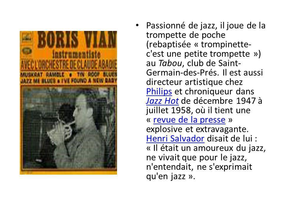 1951 et 1952 seront des années sombres pour Boris Vian.