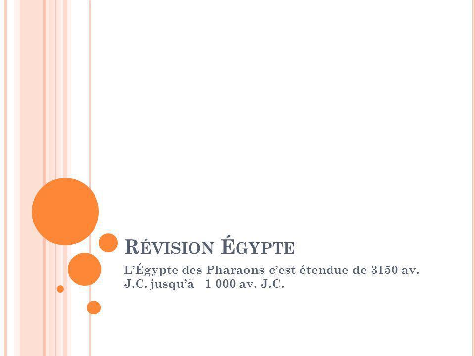 R ÉVISION É GYPTE LÉgypte des Pharaons cest étendue de 3150 av. J.C. jusquà 1 000 av. J.C.