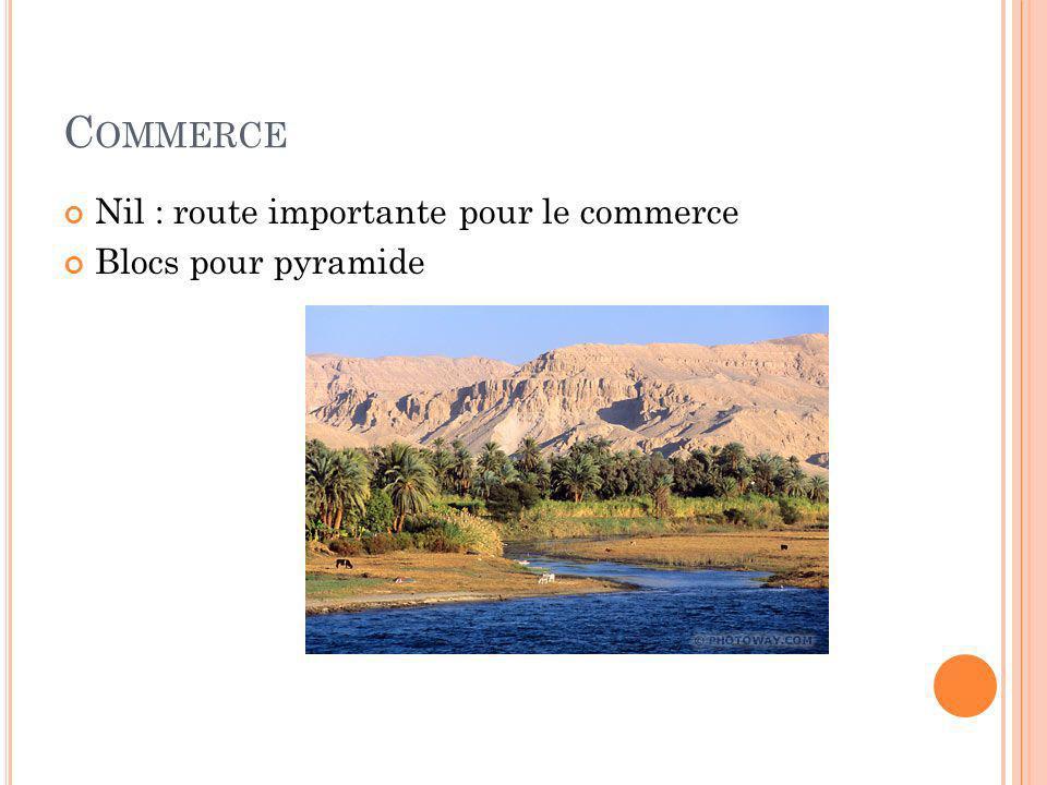 C OMMERCE Nil : route importante pour le commerce Blocs pour pyramide