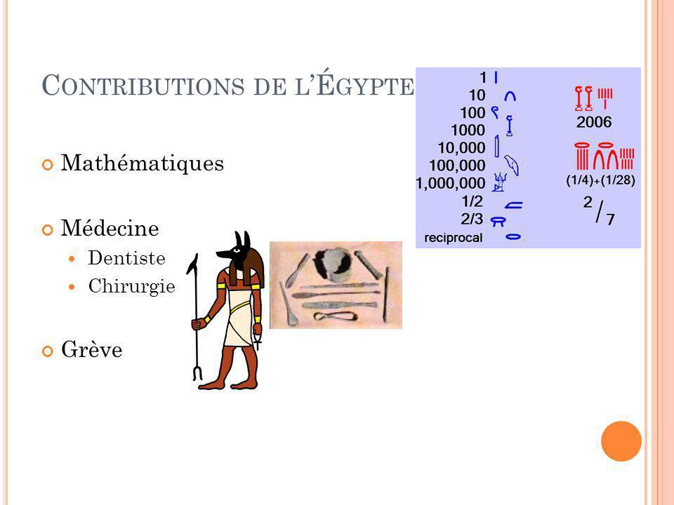 C ONTRIBUTIONS DE L É GYPTE Mathématiques Médecine Dentiste Chirurgie Grève