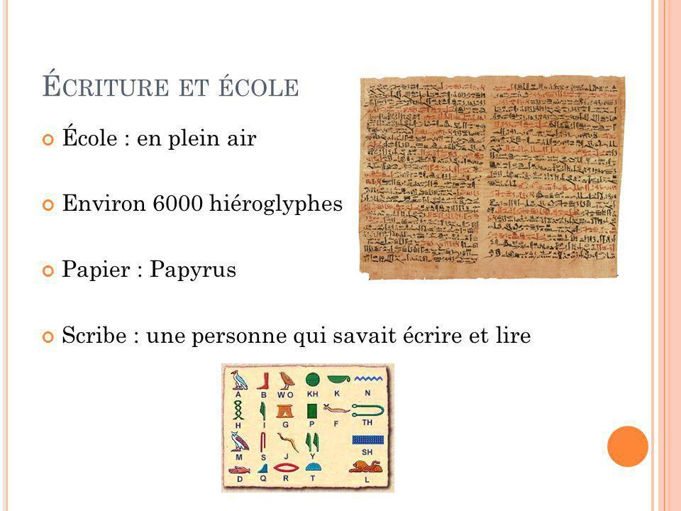 É CRITURE ET ÉCOLE École : en plein air Environ 6000 hiéroglyphes Papier : Papyrus Scribe : une personne qui savait écrire et lire