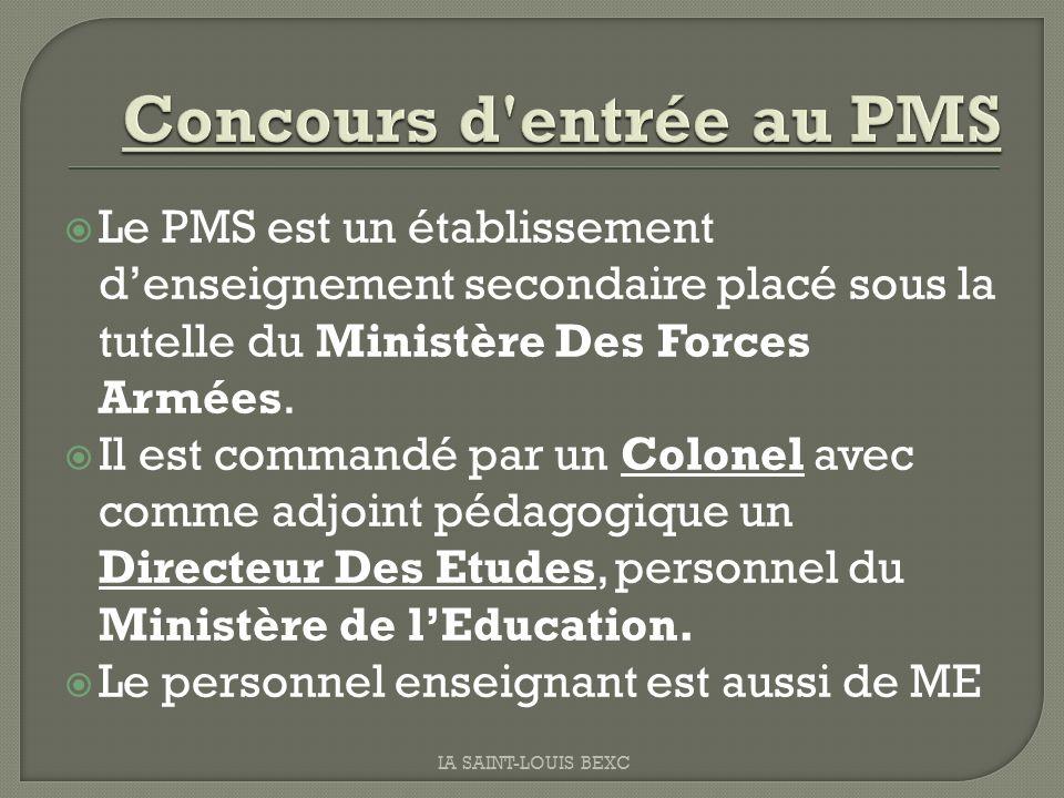 Le PMS est un établissement denseignement secondaire placé sous la tutelle du Ministère Des Forces Armées. Il est commandé par un Colonel avec comme a