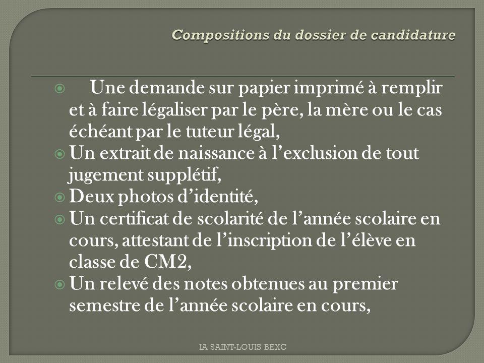 Une demande sur papier imprimé à remplir et à faire légaliser par le père, la mère ou le cas échéant par le tuteur légal, Un extrait de naissance à le