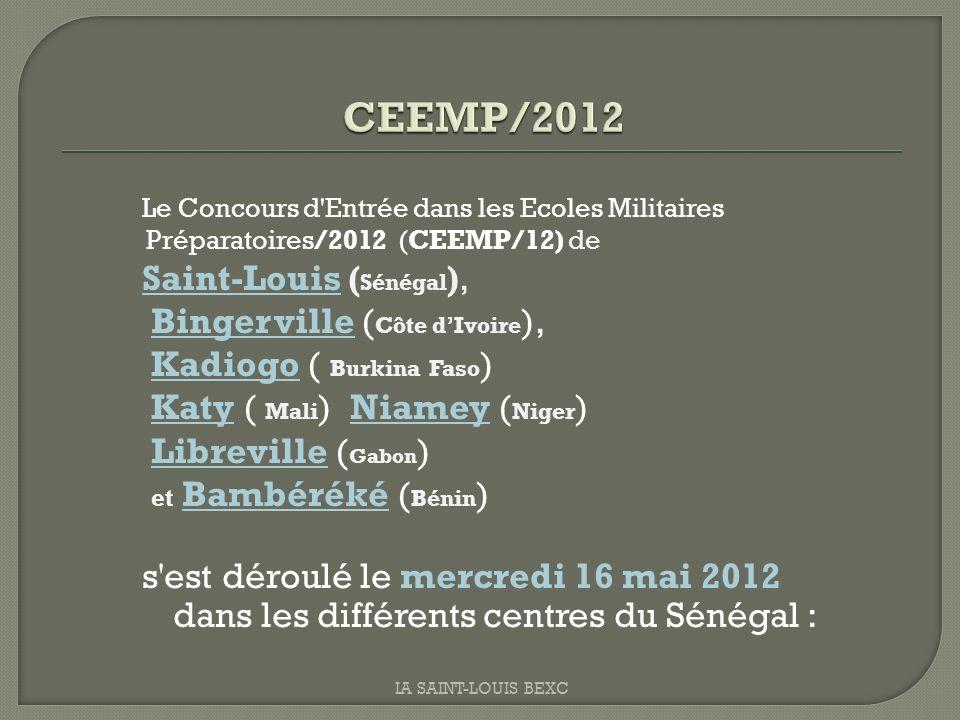 Le Concours d'Entrée dans les Ecoles Militaires Préparatoires/2012 (CEEMP/12) de Saint-Louis ( Sénégal ), Bingerville ( Côte dIvoire ), Kadiogo ( Burk