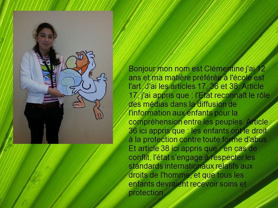 Bonjour mon nom est Clémentine j'ai 12 ans et ma matière préférée à l'école est l'art. J'ai les articles 17, 36 et 38. Article 17, j'ai appris que : l