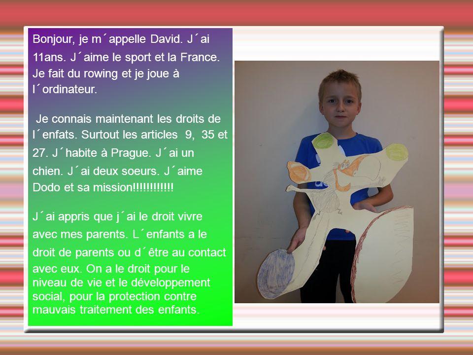 Bonjour, je m´appelle David. J´ai 11ans. J´aime le sport et la France. Je fait du rowing et je joue à l´ordinateur. Je connais maintenant les droits d