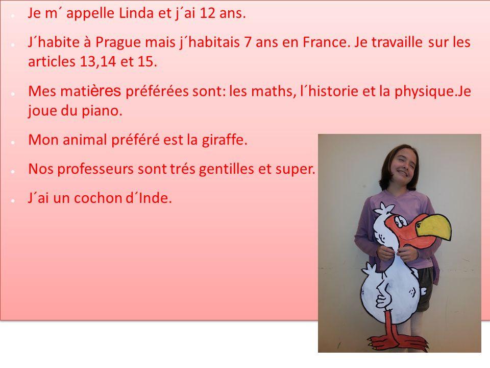 Je m´ appelle Linda et j´ai 12 ans. J´habite à Prague mais j´habitais 7 ans en France. Je travaille sur les articles 13,14 et 15. Mes mati ères préfér