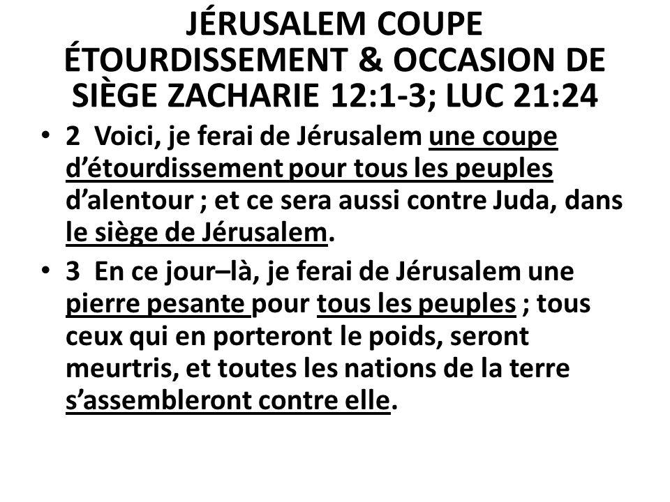JÉRUSALEM COUPE ÉTOURDISSEMENT & OCCASION DE SIÈGE ZACHARIE 12:1-3; LUC 21:24 2 Voici, je ferai de Jérusalem une coupe détourdissement pour tous les p