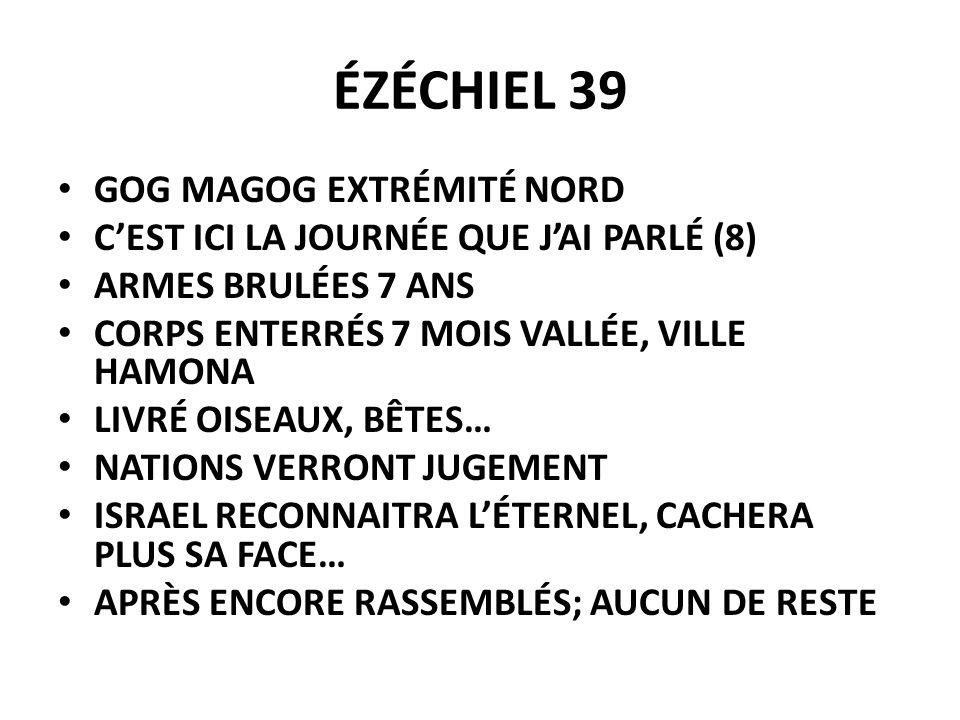 ÉZÉCHIEL 39 GOG MAGOG EXTRÉMITÉ NORD CEST ICI LA JOURNÉE QUE JAI PARLÉ (8) ARMES BRULÉES 7 ANS CORPS ENTERRÉS 7 MOIS VALLÉE, VILLE HAMONA LIVRÉ OISEAU