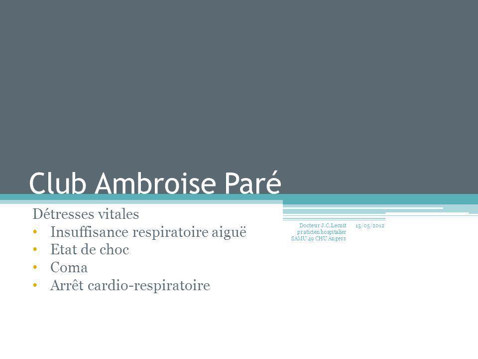 Club Ambroise Paré Détresses vitales Insuffisance respiratoire aiguë Etat de choc Coma Arrêt cardio-respiratoire 15/05/2012 Docteur J.C. Lecuit pratic