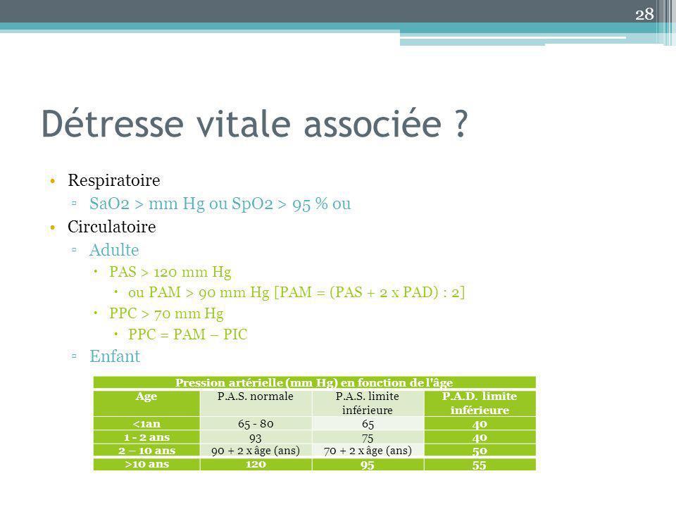 Détresse vitale associée ? Respiratoire SaO2 > mm Hg ou SpO2 > 95 % ou Circulatoire Adulte PAS > 120 mm Hg ou PAM > 90 mm Hg [PAM = (PAS + 2 x PAD) :