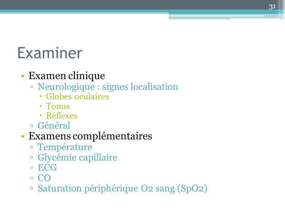 Examiner Examen clinique Neurologique : signes localisation Globes oculaires Tonus Réflexes Général Examens complémentaires Température Glycémie capil