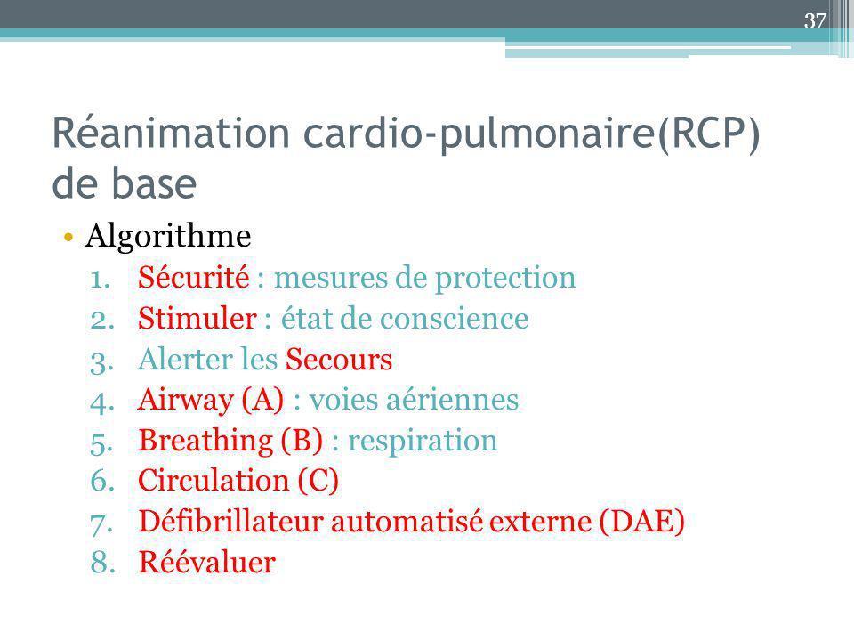Réanimation cardio-pulmonaire(RCP) de base Algorithme 1.Sécurité : mesures de protection 2.Stimuler : état de conscience 3.Alerter les Secours 4.Airwa