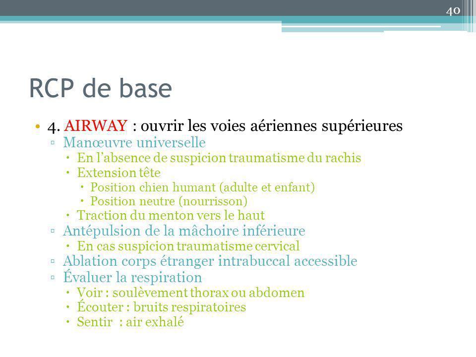 RCP de base 4. AIRWAY : ouvrir les voies aériennes supérieures Manœuvre universelle En labsence de suspicion traumatisme du rachis Extension tête Posi