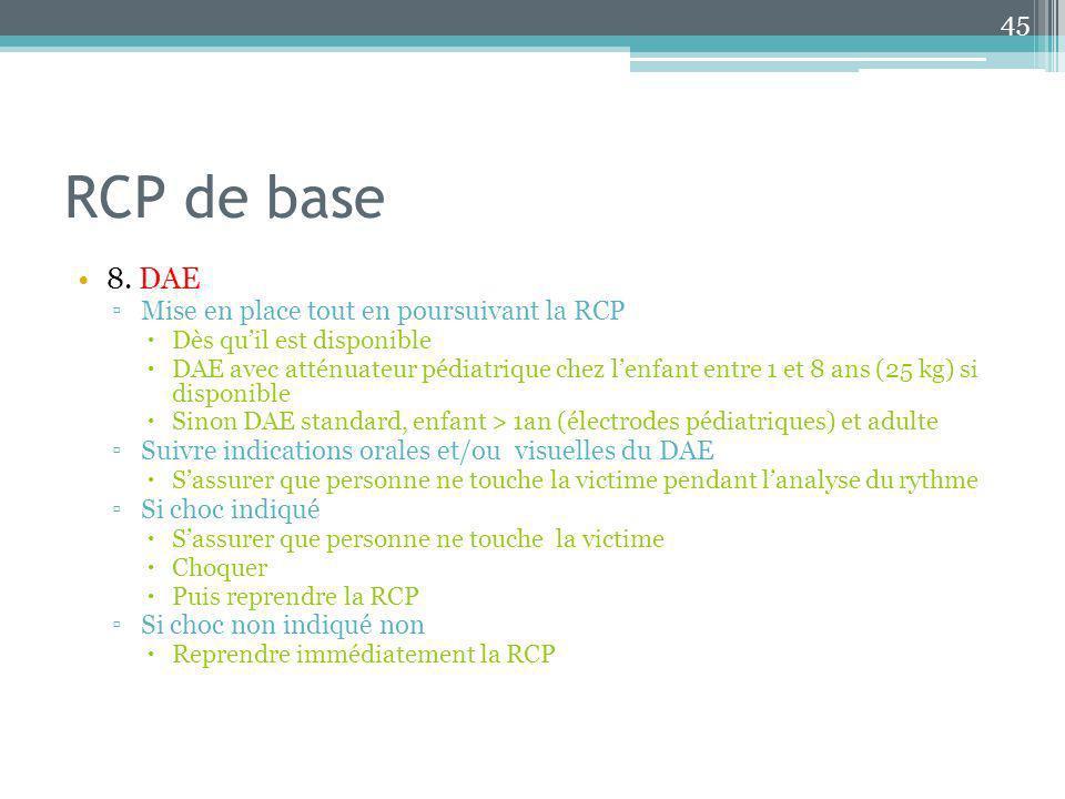 RCP de base 8. DAE Mise en place tout en poursuivant la RCP Dès quil est disponible DAE avec atténuateur pédiatrique chez lenfant entre 1 et 8 ans (25