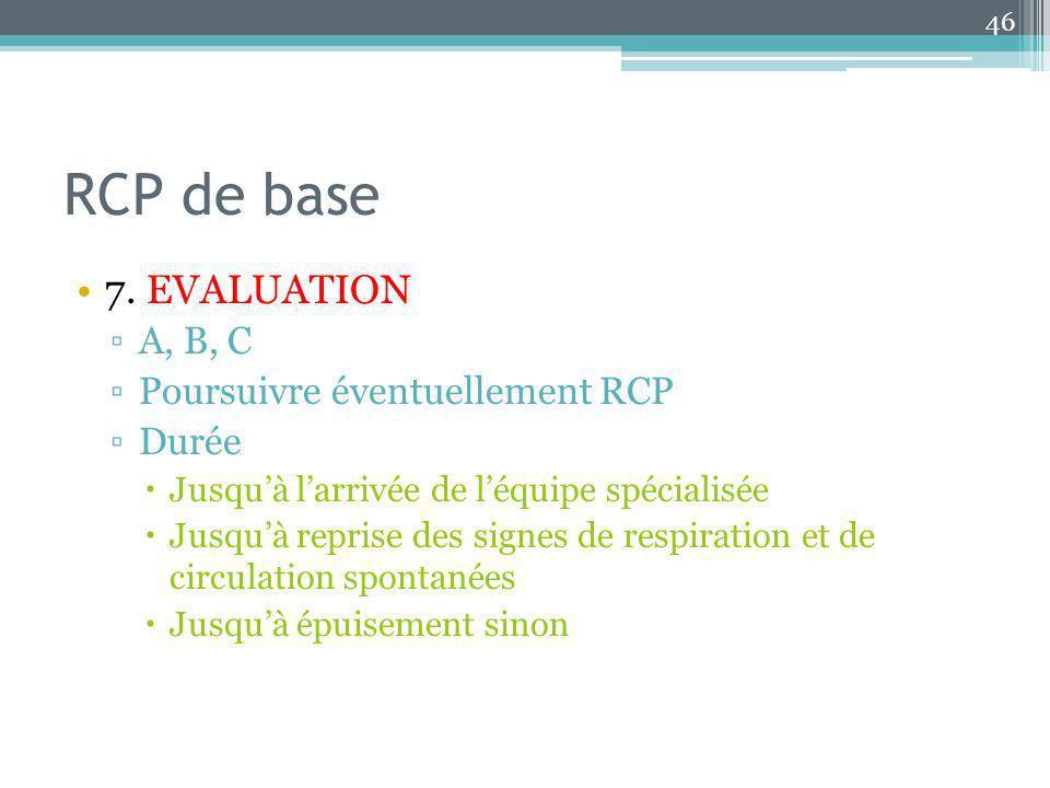 RCP de base 7. EVALUATION A, B, C Poursuivre éventuellement RCP Durée Jusquà larrivée de léquipe spécialisée Jusquà reprise des signes de respiration