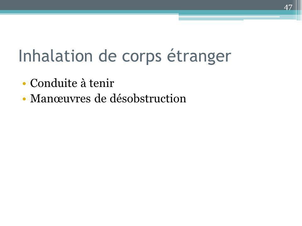 Inhalation de corps étranger Conduite à tenir Manœuvres de désobstruction 47
