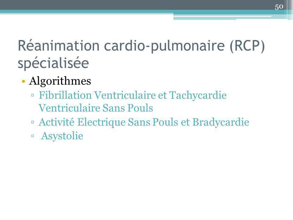 Réanimation cardio-pulmonaire (RCP) spécialisée Algorithmes Fibrillation Ventriculaire et Tachycardie Ventriculaire Sans Pouls Activité Electrique San