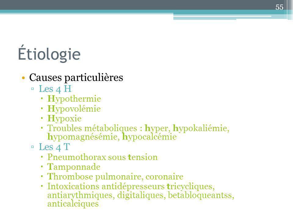 Étiologie Causes particulières Les 4 H Hypothermie Hypovolémie Hypoxie Troubles métaboliques : hyper, hypokaliémie, hypomagnésémie, hypocalcémie Les 4