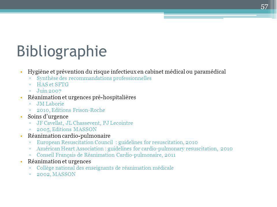 Bibliographie Hygiène et prévention du risque infectieux en cabinet médical ou paramédical Synthèse des recommandations professionnelles HAS et SFTG J