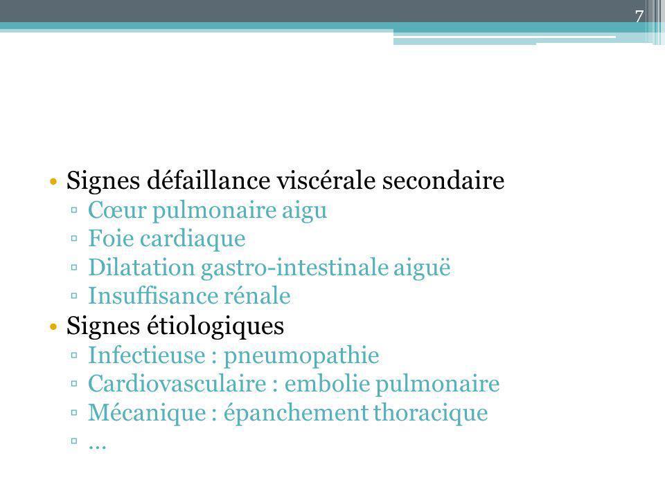 Signes défaillance viscérale secondaire Cœur pulmonaire aigu Foie cardiaque Dilatation gastro-intestinale aiguë Insuffisance rénale Signes étiologique