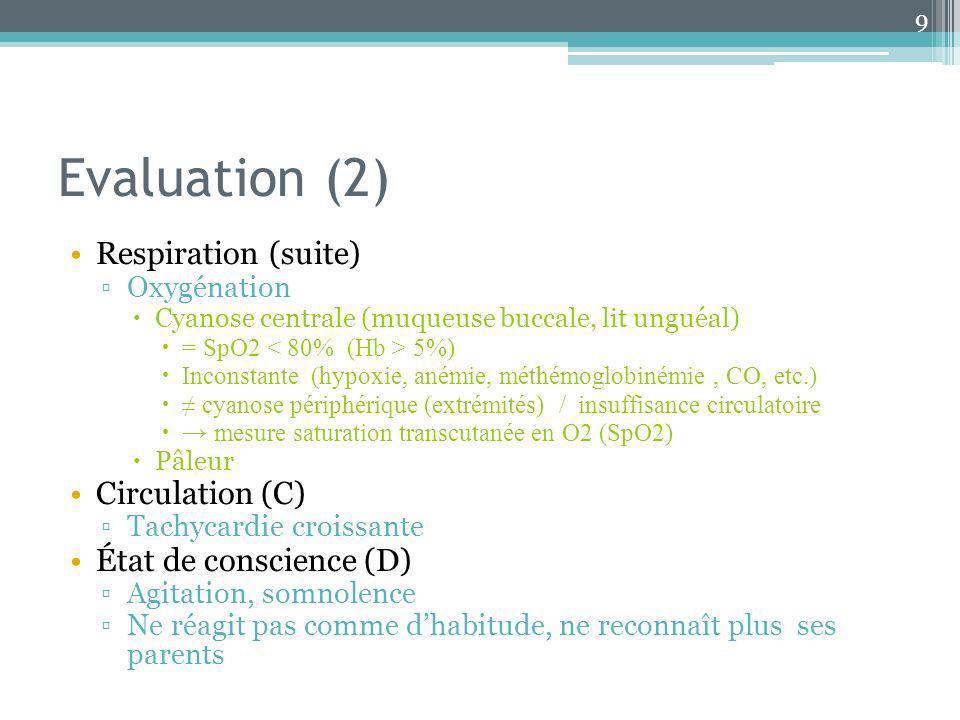 Evaluation (2) Respiration (suite) Oxygénation Cyanose centrale (muqueuse buccale, lit unguéal) = SpO2 5%) Inconstante (hypoxie, anémie, méthémoglobin
