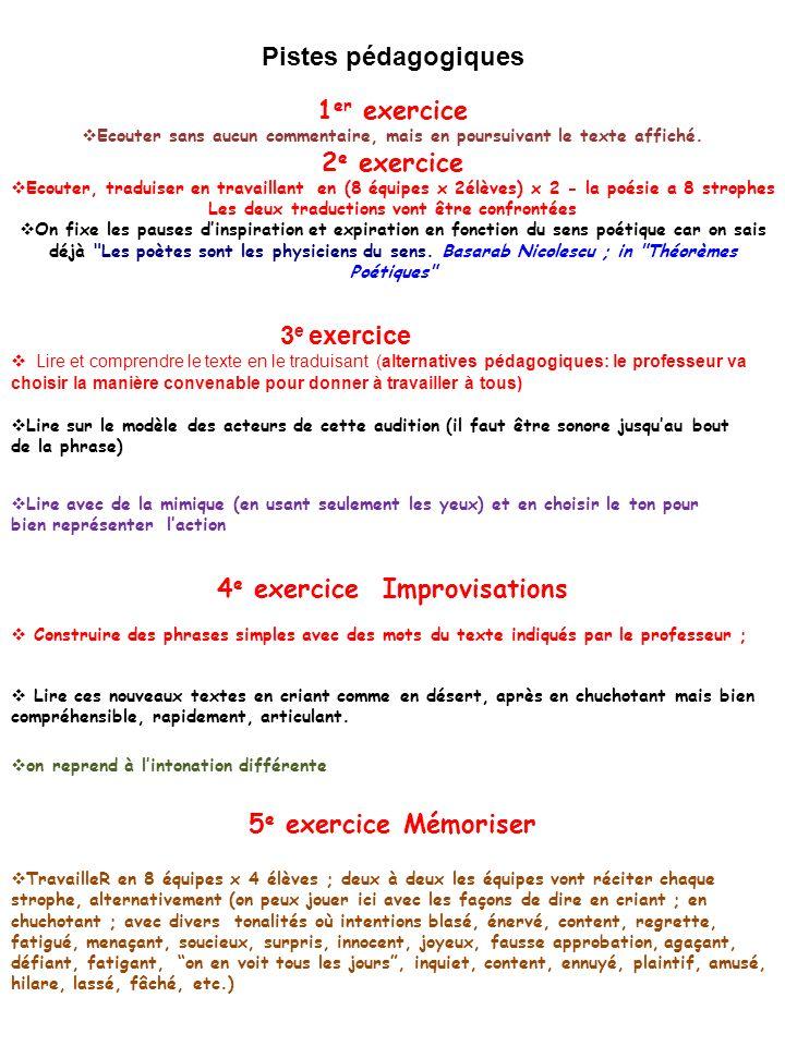 Pistes pédagogiques 1 er exercice Ecouter sans aucun commentaire, mais en poursuivant le texte affiché.