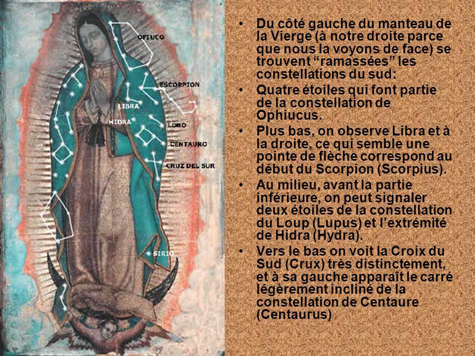 Du côté gauche du manteau de la Vierge (à notre droite parce que nous la voyons de face) se trouvent ramassées les constellations du sud: Quatre étoil
