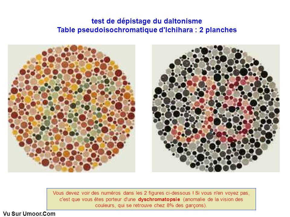 Vu Sur Umoor.Com test de dépistage du daltonisme Table pseudoisochromatique d'Ichihara : 2 planches Vous devez voir des numéros dans les 2 figures ci-