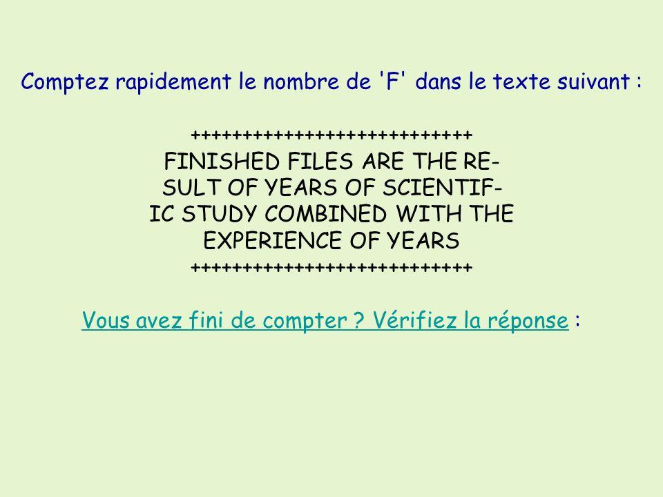 Vu Sur Umoor.Com Comptez rapidement le nombre de 'F' dans le texte suivant : +++++++++++++++++++++++++++ FINISHED FILES ARE THE RE- SULT OF YEARS OF S