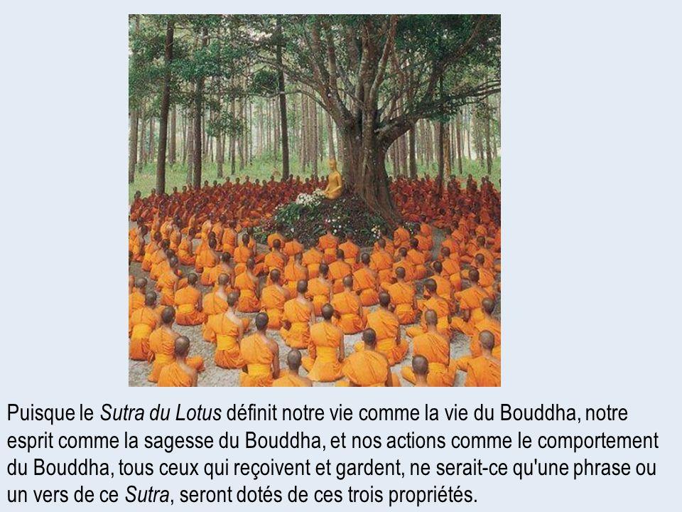Puisque le Sutra du Lotus définit notre vie comme la vie du Bouddha, notre esprit comme la sagesse du Bouddha, et nos actions comme le comportement du