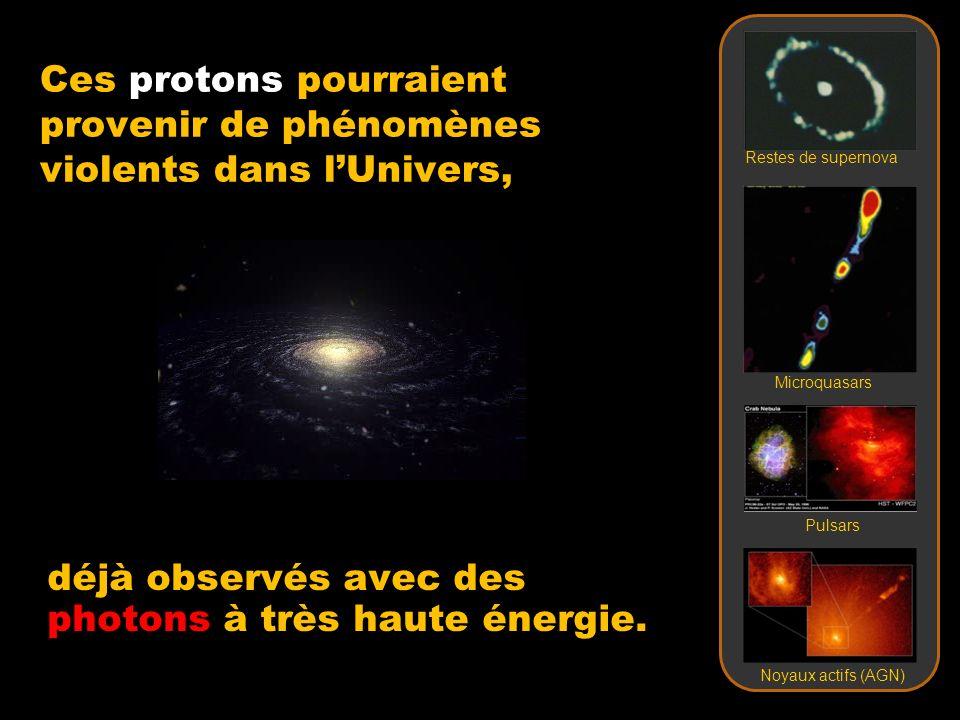 déjà observés avec des photons à très haute énergie. Ces protons pourraient provenir de phénomènes violents dans lUnivers, Restes de supernova Microqu