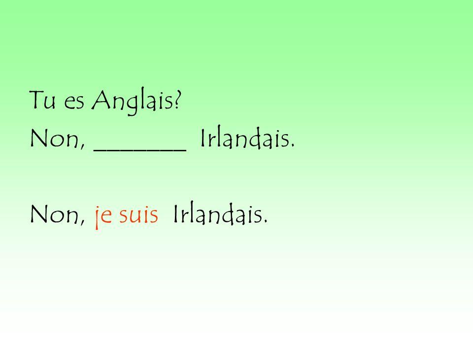 Tu es Anglais Non, _______ Irlandais. Non, je suis Irlandais.