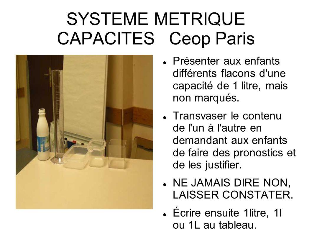SYSTEME METRIQUE CAPACITES Ceop Paris Présenter aux enfants différents flacons d'une capacité de 1 litre, mais non marqués. Transvaser le contenu de l