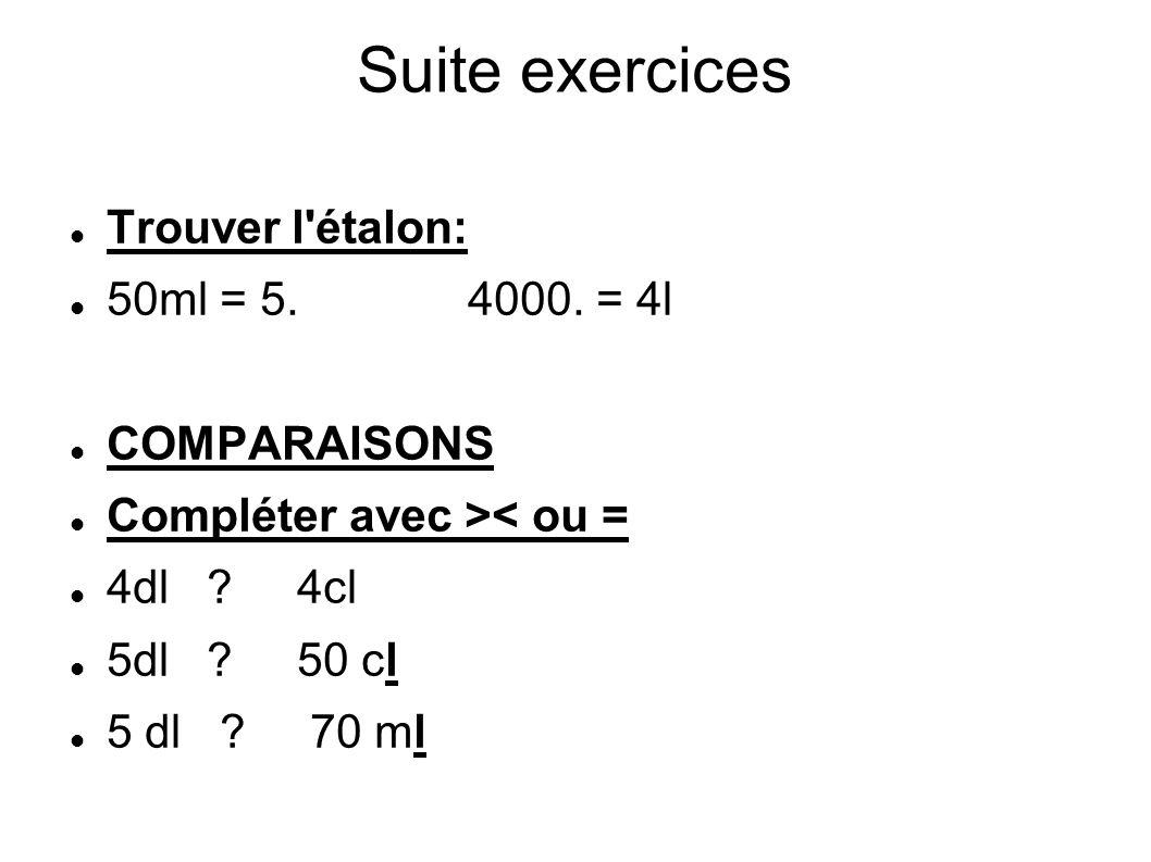Suite exercices Trouver l'étalon: 50ml = 5.4000. = 4l COMPARAISONS Compléter avec >< ou = 4dl ? 4cl 5dl ? 50 cl 5 dl ? 70 ml