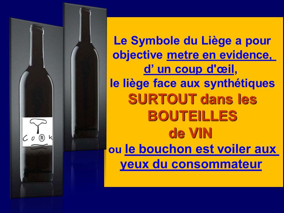 Le Symbole du Liège a pour objective metre en evidence, d un coup d'œil, le liège face aux synthétiques SURTOUT dans les BOUTEILLES de VIN ou le bouch