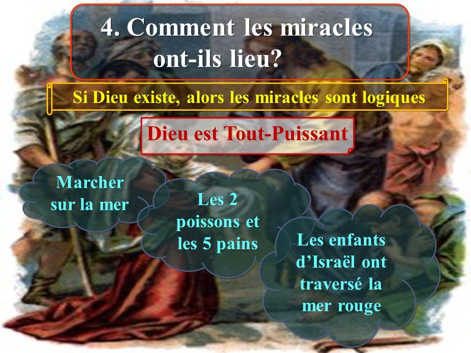 4. Comment les miracles ont-ils lieu? Si Dieu existe, alors les miracles sont logiques Dieu est Tout-Puissant Marcher sur la mer Les 2 poissons et les