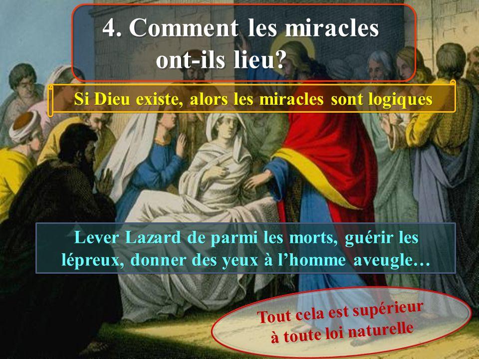 Lever Lazard de parmi les morts, guérir les lépreux, donner des yeux à lhomme aveugle… Tout cela est supérieur à toute loi naturelle Si Dieu existe, alors les miracles sont logiques 4.