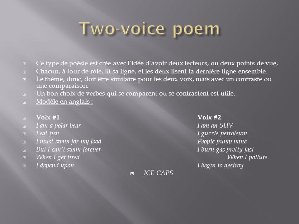 Ce type de poésie est crée avec lidée davoir deux lecteurs, ou deux points de vue, Chacun, à tour de rôle, lit sa ligne, et les deux lisent la dernièr