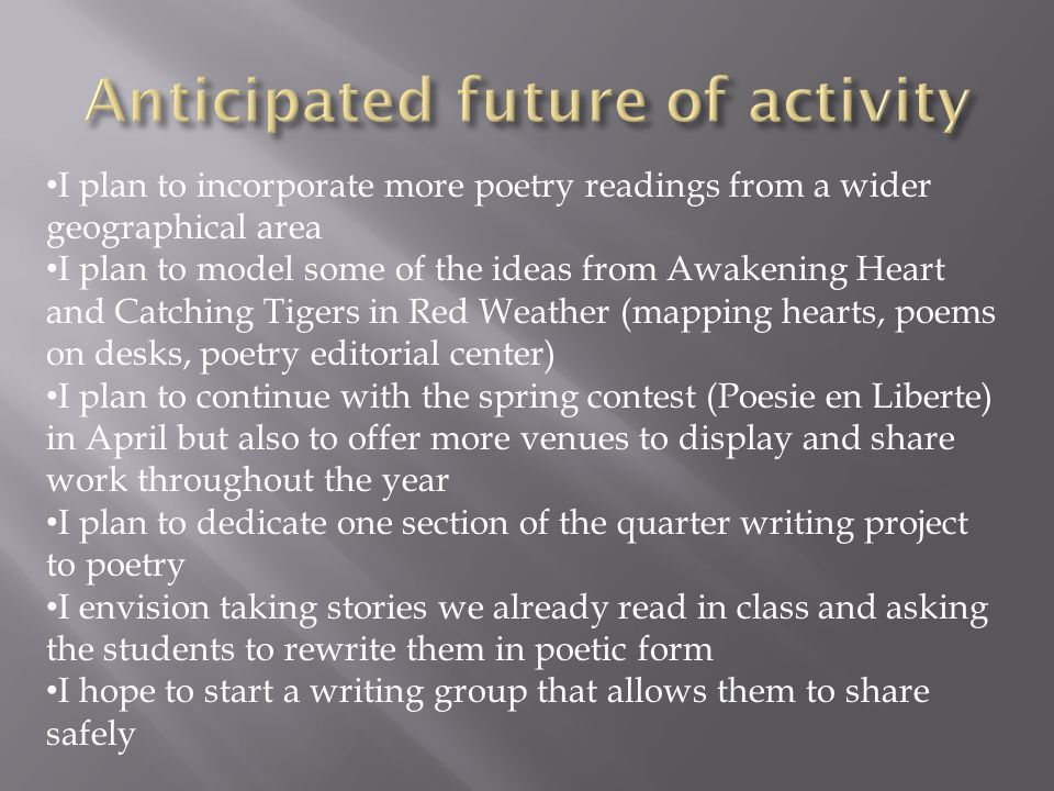 I plan to incorporate more poetry readings from a wider geographical area I plan to model some of the ideas from Awakening Heart and Catching Tigers i