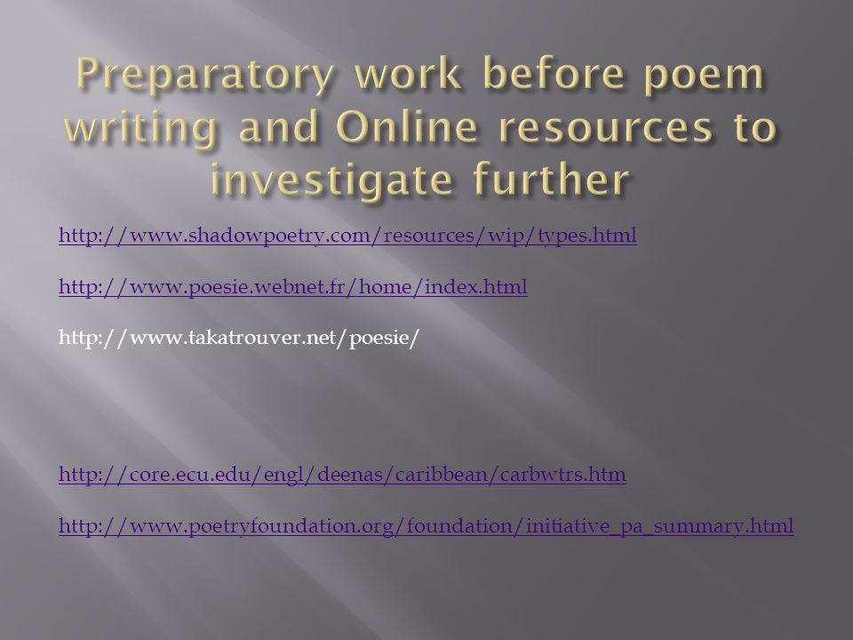 1.How would you like to see the purpose of poetry presented to adolescents.