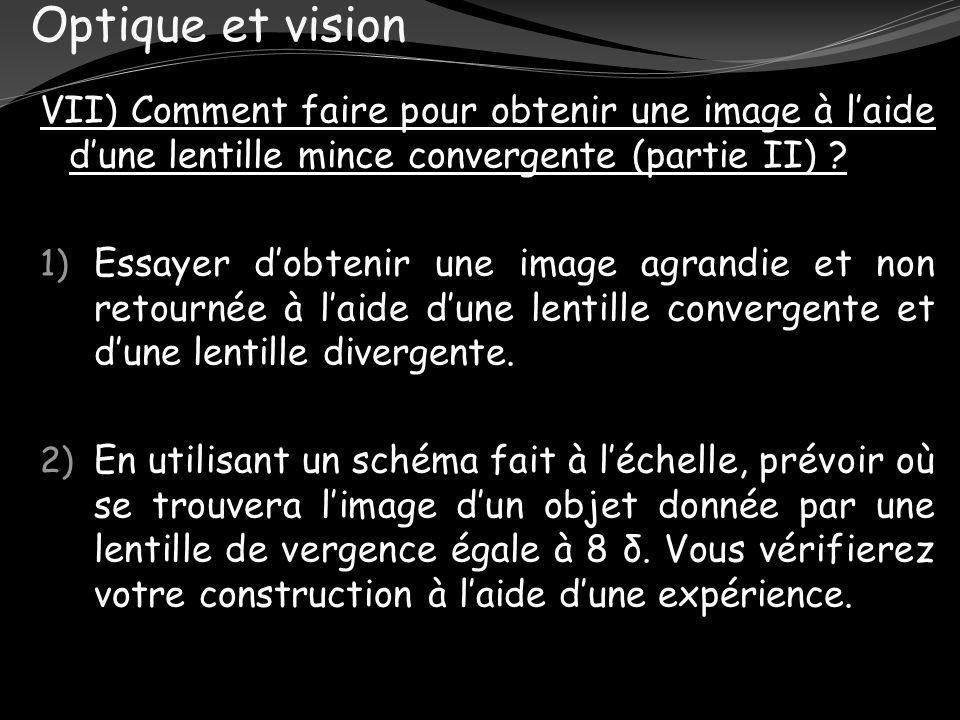 Optique et vision VII) Comment faire pour obtenir une image à laide dune lentille mince convergente (partie II) ? 1) Essayer dobtenir une image agrand