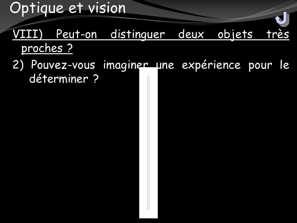 Optique et vision VIII) Peut-on distinguer deux objets très proches ? 2) Pouvez-vous imaginer une expérience pour le déterminer ?