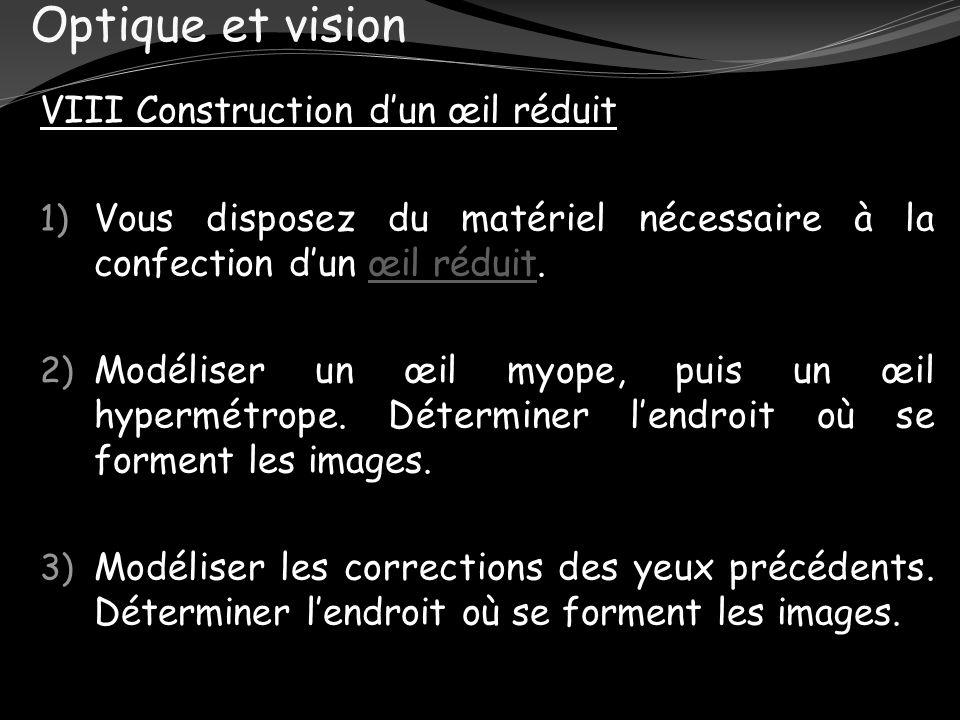 Optique et vision VIII Construction dun œil réduit 1) Vous disposez du matériel nécessaire à la confection dun œil réduit.œil réduit 2) Modéliser un œ
