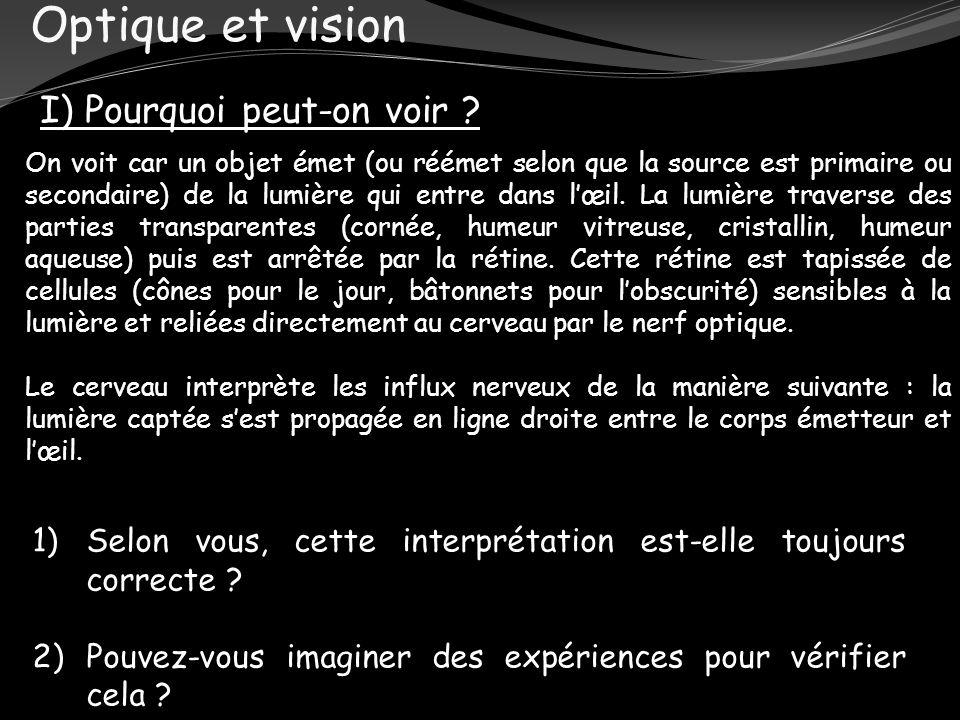 Optique et vision I) Pourquoi peut-on voir ? On voit car un objet émet (ou réémet selon que la source est primaire ou secondaire) de la lumière qui en