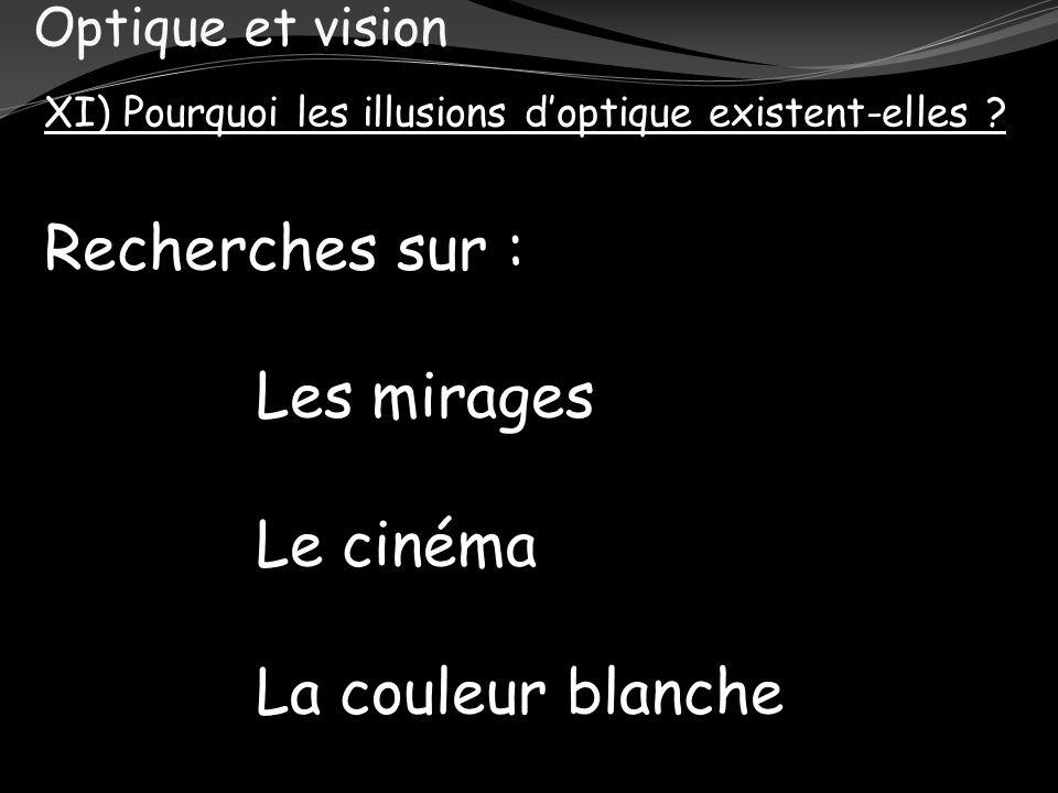 Optique et vision XI) Pourquoi les illusions doptique existent-elles ? Recherches sur : Les mirages Le cinéma La couleur blanche